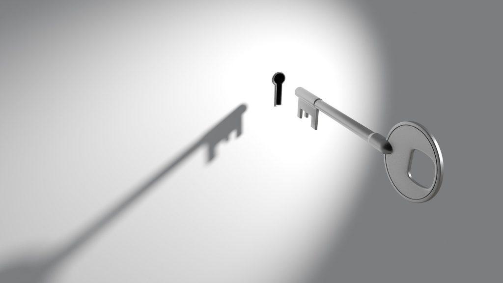 壁に開いた鍵穴に銀の鍵がひとりでに刺さっていくところ