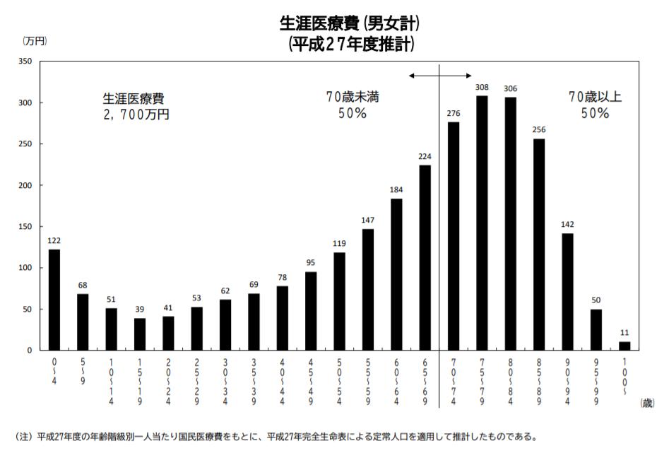 生涯医療費年代別推計グラフ
